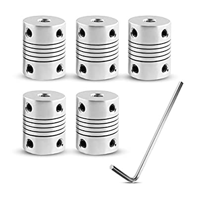 Dorhea Flexible Couplings 5mm to 8mm 17 Shaft Teppar Motor Coupler Aluminum Alloy Joint Connector for Creality CR-10 CR-10S S4 S5 Makerbot RepRap Prusa i3 3D Printer CNC Machine (Pack of 5pcs)