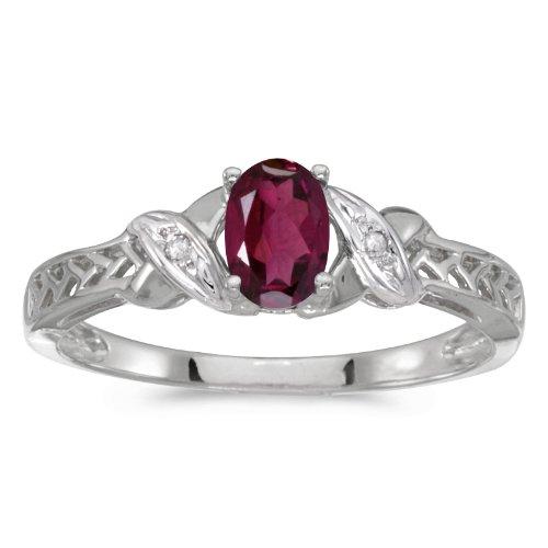 0.50 Carat ct 10k Gold Oval Red Rhodolite Garnet Diamond Crossover Infinity Antique Promise Fashion Ring - White-gold, Size 4.5 - Rhodolite Garnet Birthstone Ring