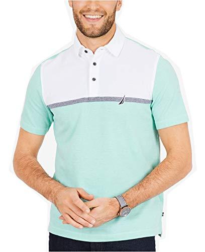 Pique Oxford Golf Shirt - Nautica Men's Short Sleeve Colorblock Cotton Oxford Pique Polo Shirt, Mint Spring k Small