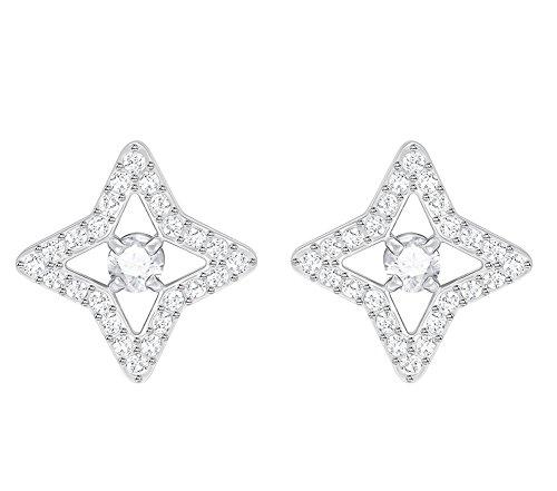 (Swarovski Crystal White Rhodium-Plated Sparkling Dance Star Stud Earrings)