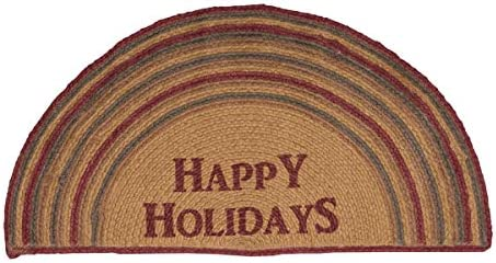 VHC Brands 6849 Christmas Flooring-Happy Holidays Tan Stenciled Half Circle Jute Rug, 16.5 x 33