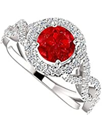 Ruby CZ Stylish Cross Over in 925 Sterling Silver Ring