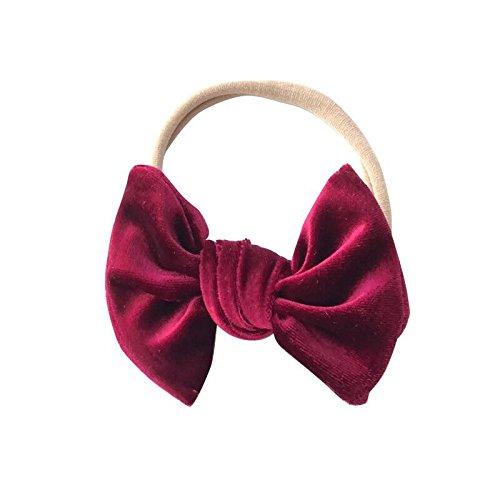 Amazon.com  Burgundy bow headband - baby headband - velvet bow - girls  headband - nylon headband - headbands - wine bow  Handmade 99157abd9e8
