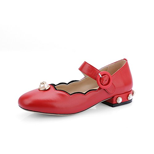 Volle Kuh Pima Lizhen Schuhe/Trend Perle niedrigen Absätzen Partei Schuhe mit Leder mit Wort-A Fußlänge=22.3CM(8.8Inch)