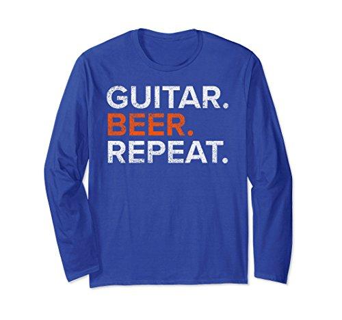Unisex Vintage Guitar Beer Repeat Funny Long Sleeve T Shirt Medium Royal Blue (Funny Long Sleeve Repeat)