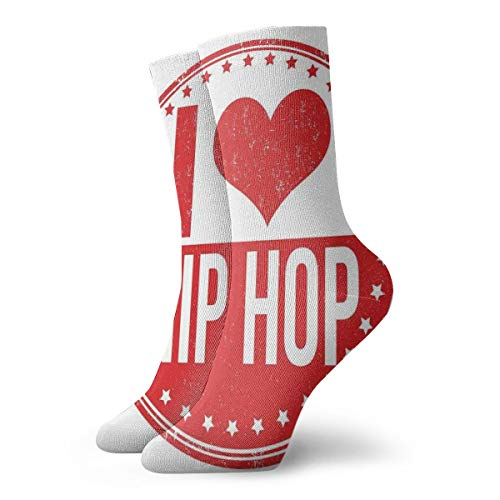 High Ankle Cotton Casual Crew Socks For Women Men,I Love Hip Hop Phrase On A Circular Grungy Background With Star Shapes