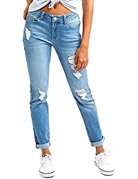 Women's Ripped Distressed Boyfriend Jeans Stretch Denim Pants with Hole