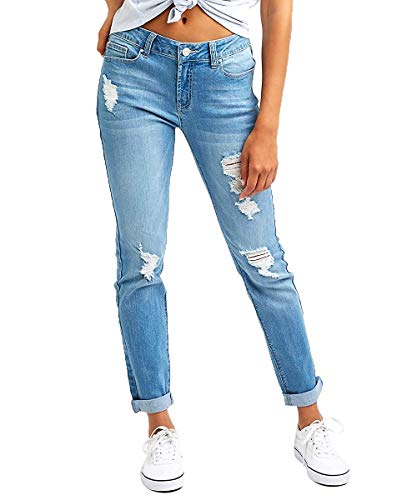 Resfeber Women's Boyfriend Jeans Distressed Slim Fit Ripped Jeans Comfy Stretch Skinny Jeans (Lightblue, 16)