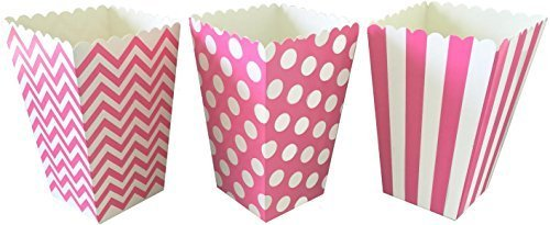 Outside the Box Papers Chevron, Stripe and Polka Dot Paper Popcorn Boxes 36 Pack Pink, White