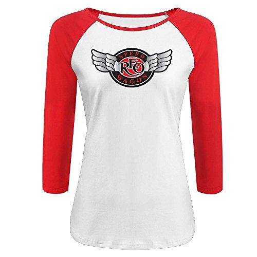 Women's REO Speedwagon 100% Cotton 3/4 Sleeve Athletic Raglan Sleeves T-Shirt Red US Size - Fashion Pakistan New