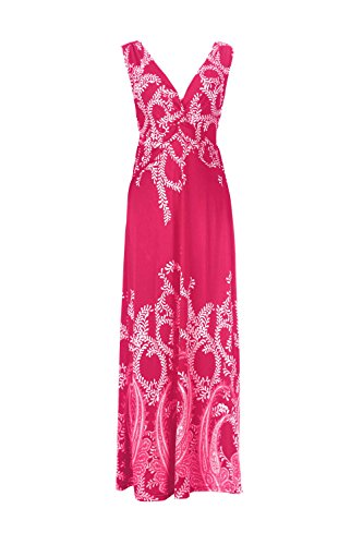G2 Chic Women's Paradise Printed Patterned Holiday Casual Floral Maxi Dress(DRS-MAX,DPKA3-L)