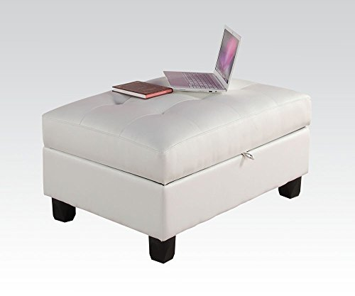 1PerfectChoice Kiva White Bonded Leather Storage Ottoman
