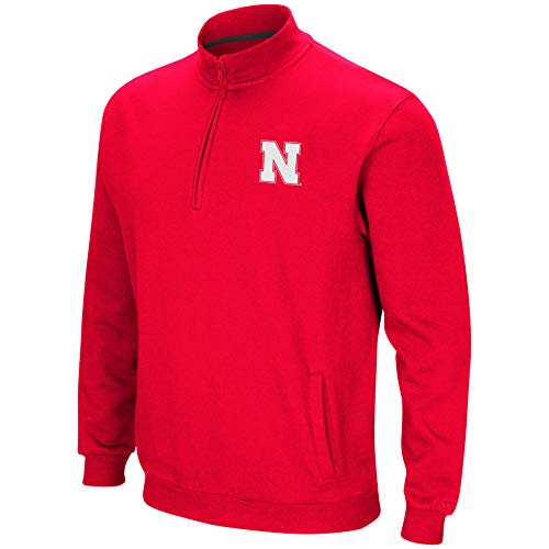 Colosseum NCAA Men's Tailgater Cotton-Poly Fleece 1/4 Zip Pullover-Nebraska -