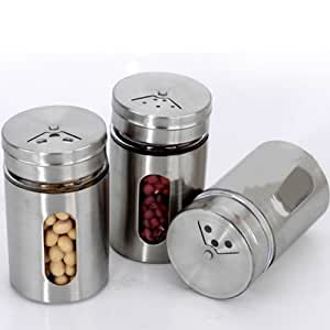 Stainless Spice Shaker Salt Pepper Flour Cruet Storage Jar Bottle