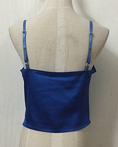 Gladiolus Mujeres Slim Camiseta Elasticidad Camiseta Sin Mangas Ajustables Bandolera Tank Tops T-Shirt Blusas Azul
