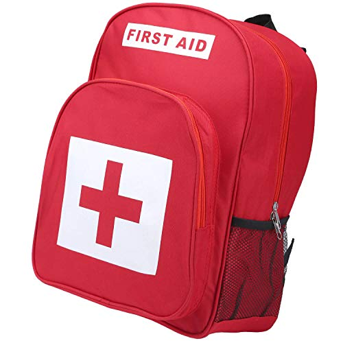(zhiyi First Aid Bag - EMT Medical Backpack Large Empty Emergency Treatment Backpacking Storage Organizer Travelling Camping Cycling Hiking Car (Red))