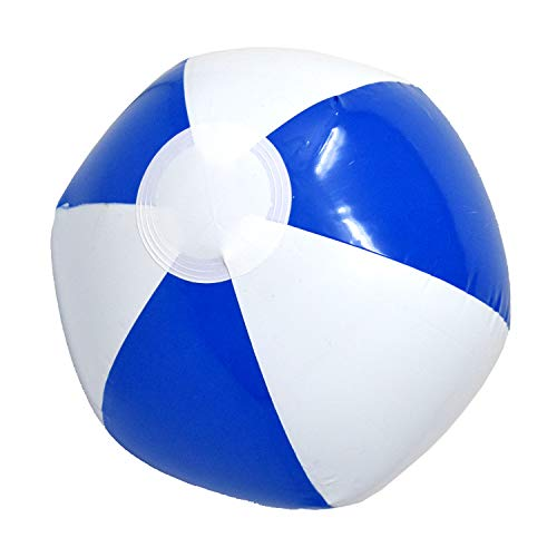 Beachgoer 12-Inch Bulk Pack of 12 Inflatable Blue and White Color Beach Balls - Small Plastic Inflatable Beachballs for Beach/Pool Parties/Summer Fun