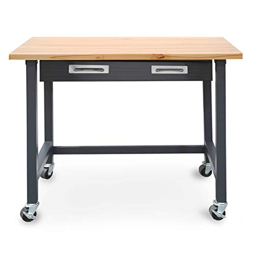 Seville Classics WEB484 UltraGraphite Wood Top Workbench on Wheels with Sliding Organizer Drawer (Roll Desk Wood Top)