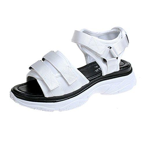 Sandales Platform Chaussures Soled Open Dames Spell Chaussures Toe 1Color Plates Chaussures Velcro yalanshop Dick Étudiant SqvOz