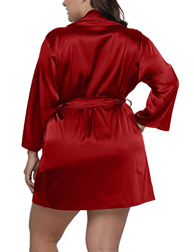 Allegrace Women Plus Size Satin Wrap Front Kimono Robes Short Pajamas with Belt Red 1X by Allegrace (Image #3)