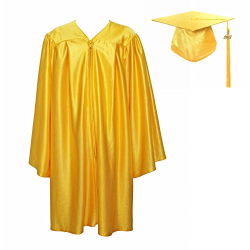 GraduationService Unisex Kindergarten Graduation Shiny Gown Cap Tassel 2018 Gold 30  inch