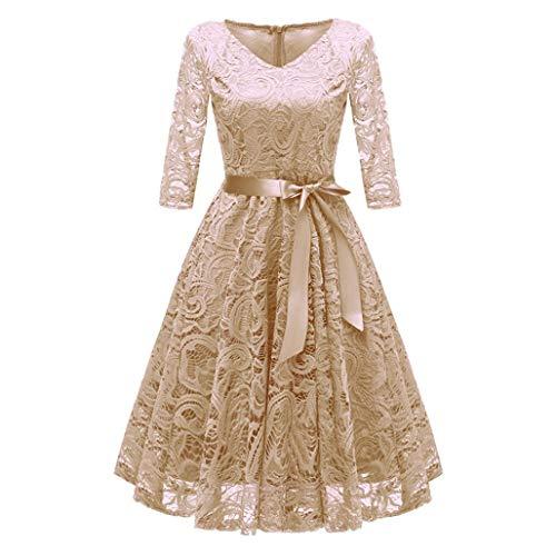 Todaies Women Lace Dress Women Vintage Princess Dress Floral Cocktail V-Neck Party Aline Swing Dress