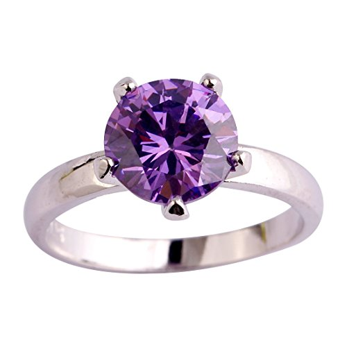 Psiroy 925 Sterling Silver Created Amethyst Filled Solitaire Engagement Ring