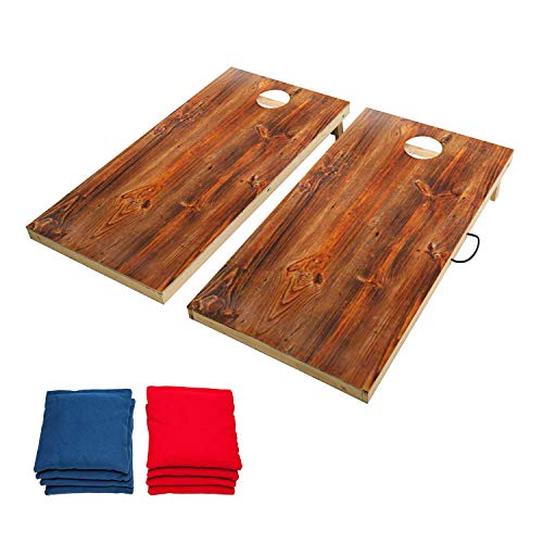 OOFIT Solid Wood Premium 2'x 4' Regulation Size Cornhole Game Set with Stylish, Durable Printed Surface and Underneath, Weather Proof Regulation Cornhole Bean Bag Toss Game ()