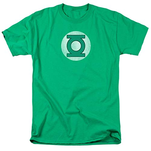 Green Lantern Distressed Logo Officially Licensed T-Shirt & Exclusive Stickers (Large) (Lantern Hoodie Costume Green)