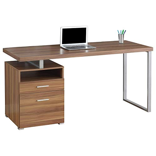 "Monarch Metal Computer Desk, 60"", Walnut/Silver"