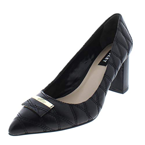 Womens Pumps Quilted - DKNY Womens Elia Leather Pointed Toe Classic Pumps, Black Quilted, Size 8.5