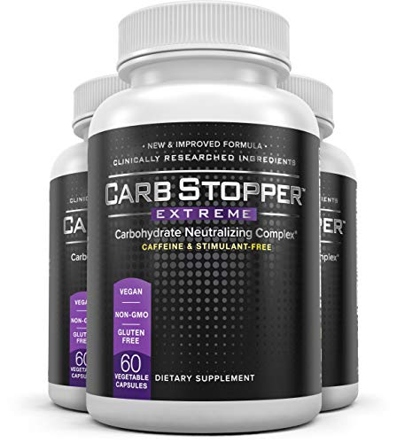 Carb Stopper Extreme 3 Bottles – Maximum Strength, All-Natural Carbohydrate and Starch Blocker Weight Loss Supplement Absorb Fat with White Kidney Bean Extract Diet Pills, 60 Capsules Per Bottle