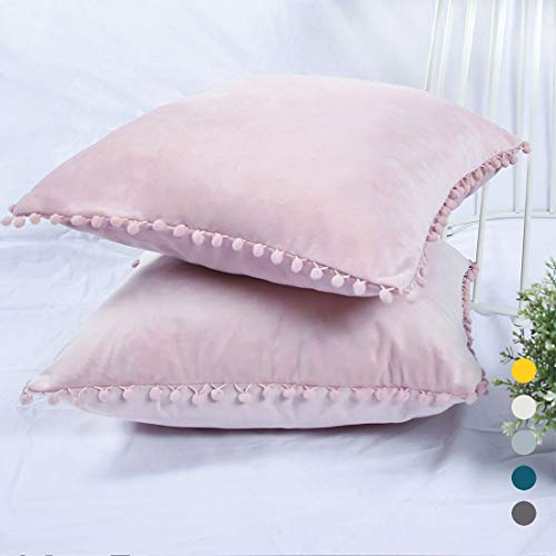 YINFUNG Pom Pillow Covers Pink Velvet Pompom Throw Pillow Cover 18x18 Pompon Trim Fringe Pillow Cases Pastel Pale Pink Blush Ball Couch Sofa Accent Cushion Cover Cute Set of 2 Girls Gift Adorable ()