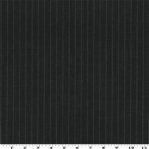 Black Wool Pinstripe Gabardine, Fabric by The Yard
