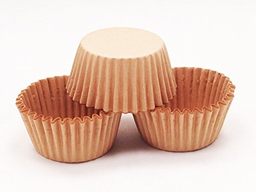 Package of 48Pcs Baking Cups Round MINI Brown Kraft Craft Paper Greaseproof Cupcake Liners Candy Truffle Cups Brownie Candy Putting Cookie Disposable Decorating Supplies for Wedding Birthday Party