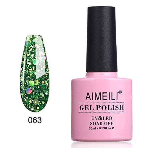 AIMEILI Soak Off UV LED Gel Nail Polish - Diamond Glitter Fire Green (063) 10ml