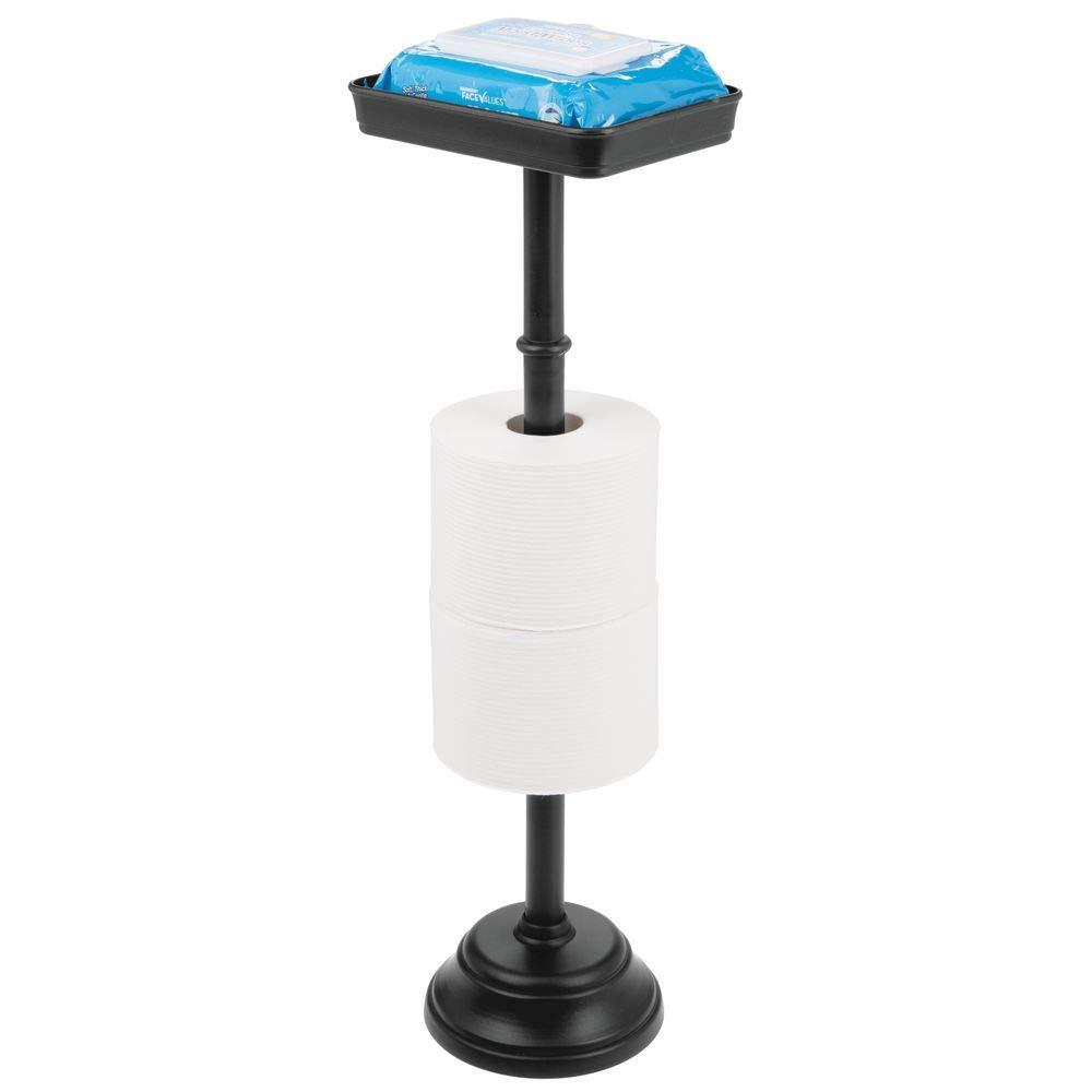mDesign Portarrollos de pie con Capacidad para 2 Rollos de Papel higi/énico Portarrollos de ba/ño y Bandeja para m/óviles Negro etc Libros Soporte para Papel higi/énico con dise/ño Atemporal