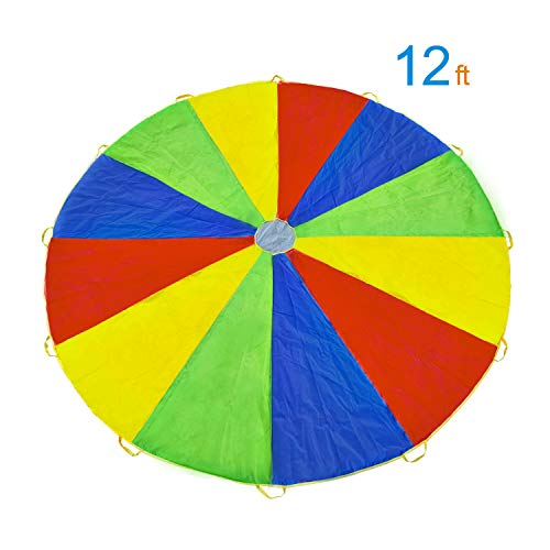 Rettebovon Parachute for Kids with 12 Handles Multi-Purpose Waterproof 12ft Play Parachute Toy Games for Team Games,You Can Also Use it for Picnic Mat and Furniture Cover (12ft)