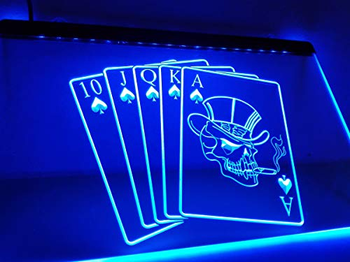 Casino Private Poker Room Black Jack Cards Game Roulette Money Beer Bar Pub Club LED Neon Light Sign Displays Home Decor On/Off Switch 4 Colors 2 Sizes to Choose (40 X 30 cm, Poker)