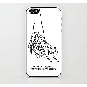 TY- caso duro del patrón de gato jane pluma para el iphone 4 / 4s