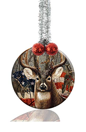 LCTCKP Deer Hunting Season USA Flag Unique Image Custom Home Round Porcelain Christmas Tree Decoration Gift