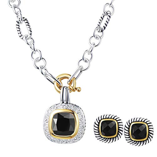 UNY Fashion Women Designer Inspired Antique Vintage Elegant Trendy CZ Cable Wire Christmas Jewelrys Sets (Black)