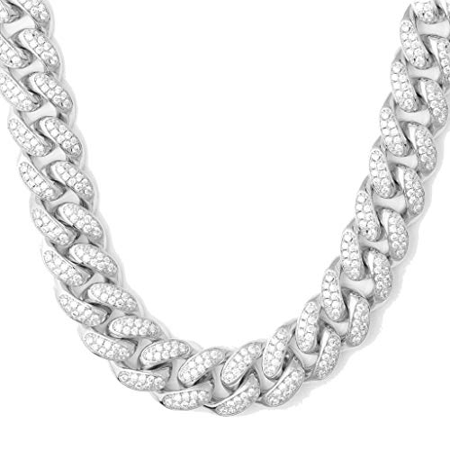 TRIPOD JEWELRY 10mm White Gold/18K Gold Plated VVS Lab Diamonds Full Iced Out Miami Cuban Link Chain for Men Gold Heavy Hip Hop Jewelry- CZ Rhinestone Cuban Link Choker (White Gold 10mm, 24.00)