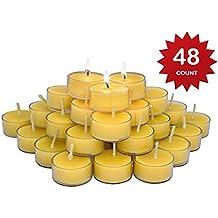 Elite Selection Pure Beeswax Candles – 48 Handmade Beeswax Tea Light Candles – Smokeless Burning Candles - Natural Smell Candles – Tea Light Candles