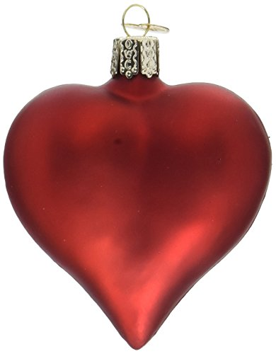 Old World Christmas Ornaments: Large Matte Red Heart Glass Blown Ornaments for Christmas ()