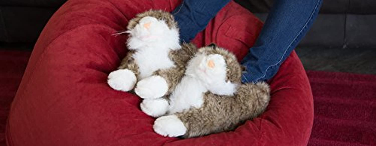 Happy Feet - Grey & White Cat - Animal Slippers - Medium