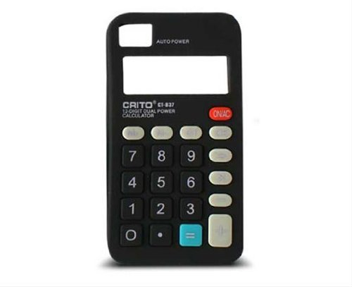 KSIX B0917FRS02N Freestyle Silikon Calculator Case für Apple iPhone 4/4S schwarz