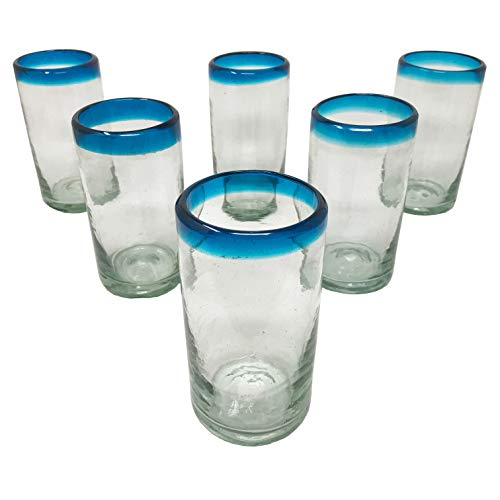 LA MEXICANA Mexican Hand Blown Drinking Glasses Cobalt Clear Sky Blue Rim Recycled Glass, 16 oz. (set of 6), Sky Blue Style ()