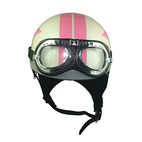 Goggles Vintage German Style Half Helmet (White/Pink Star,One size(56-58cm) : Ear muffle Bike Racing Motorcycle Cruiser Scooter Touring Accessories Cruiser Scooter Touring Helmet
