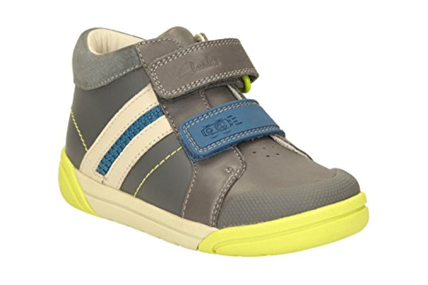 Clarks Boys Out-Of-School Lilfolkmac Pre Leather Boots In Grey Standard Fit Size 8